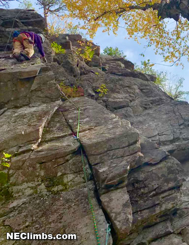 George Hurley on the FA of A Rough Arete (5.8)<br />